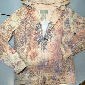 GreenTea Rose 🏵️Washed Hooded Zip Up 🌹